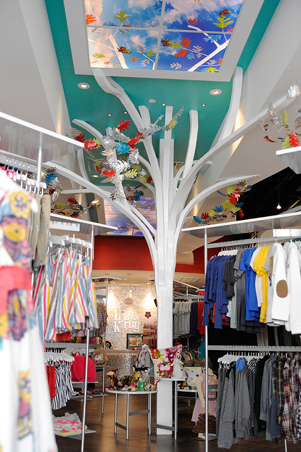 Interior of a children's clothing store designed by Shundra Harris Interiors