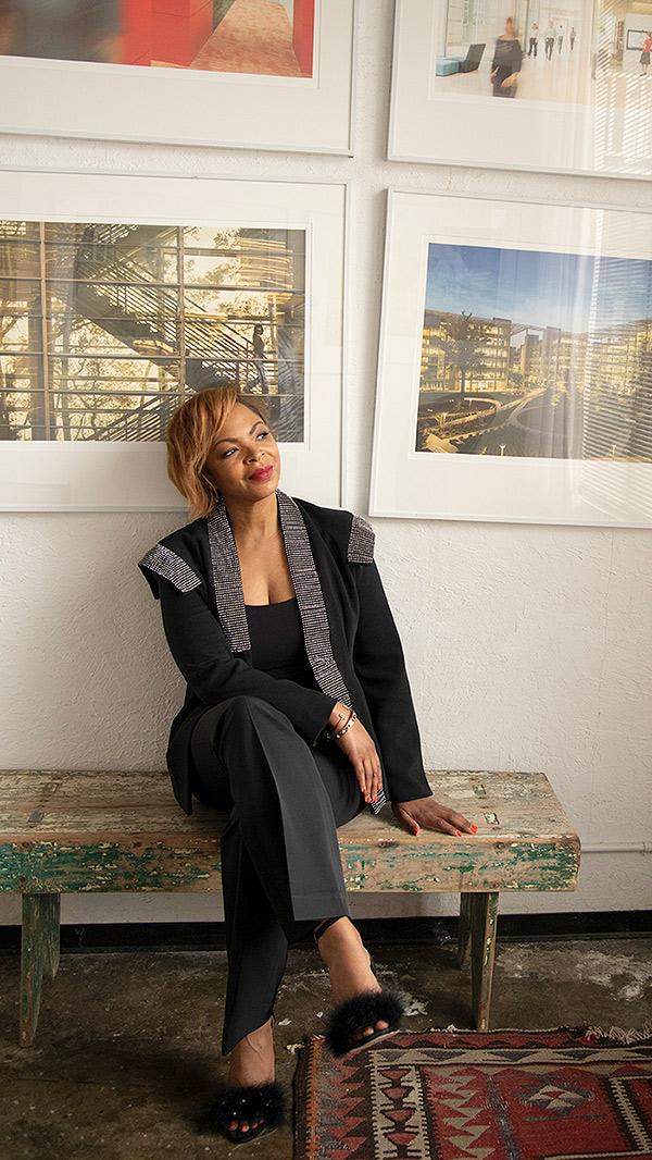 Shundra Harris against architecture art work