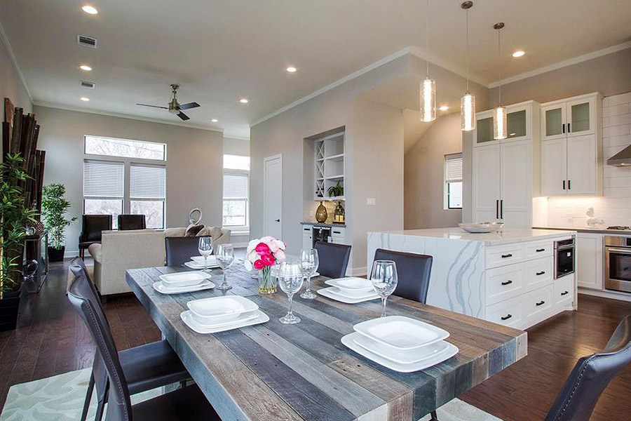 custom designed dining table with gray, brown and dark brown wood panels
