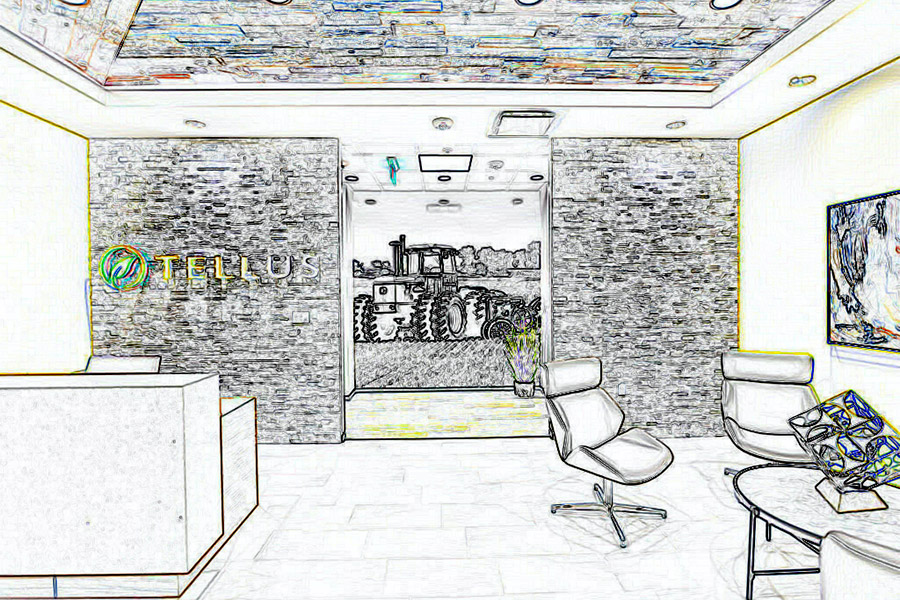 drawing of an office lobby
