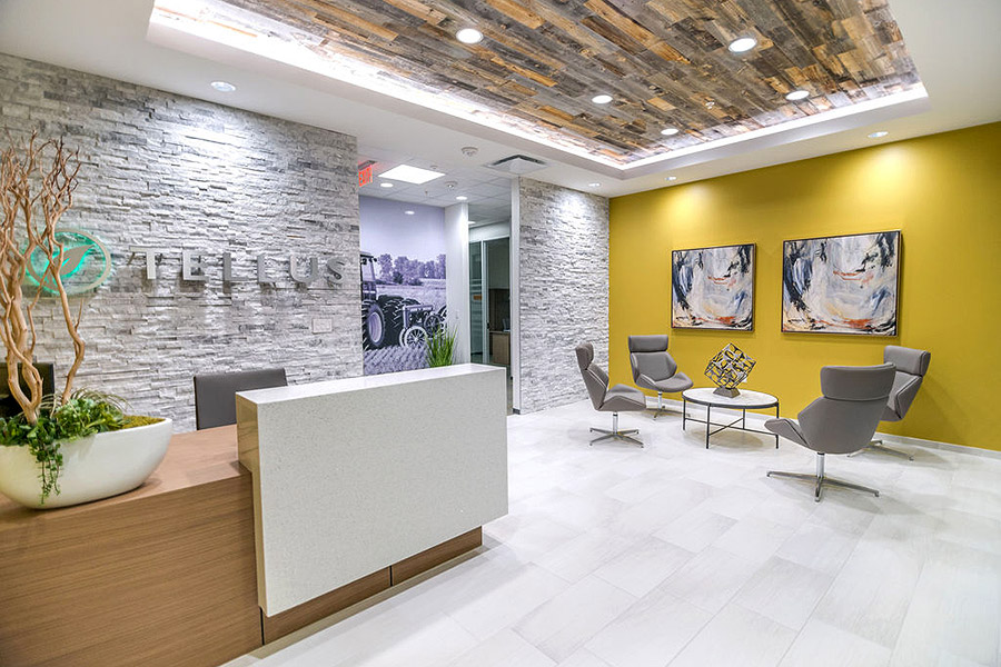 Office lobby with modern white wood floors, textured walls and a bright yellow accent wall with artworks