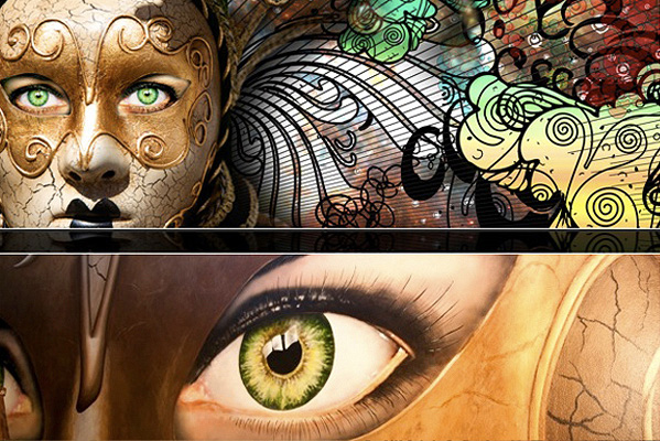 Hand painted mural details showing a masque with big eyes peering through the mask and large organic shapes swirl out from the sides of the mask painted in saturated earth tones like brown, beige, green and yellow