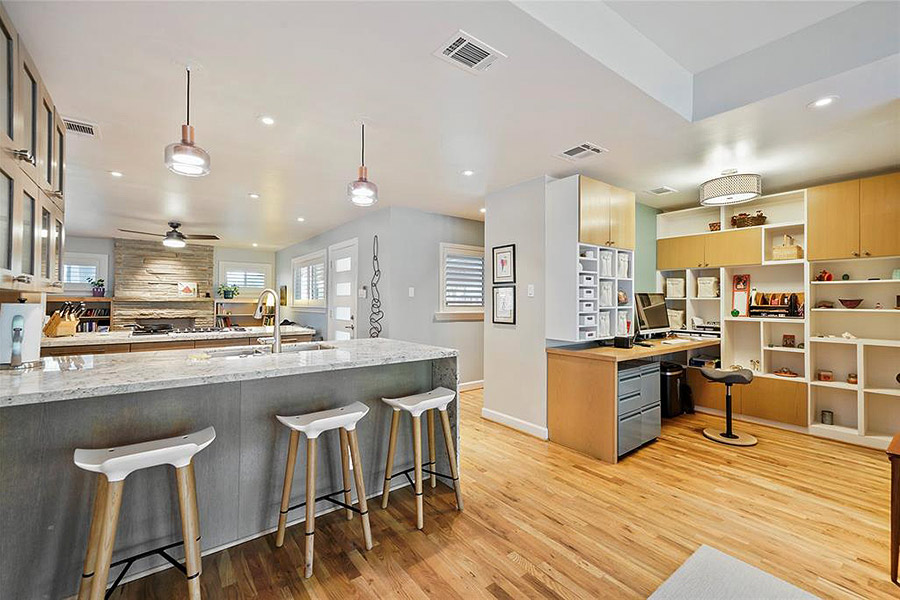 Mid century style bar stools and lighting for kitchen island bar
