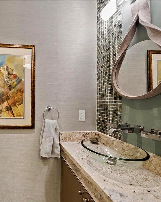 glass bowl for bathroom sink with a mosaic back splash