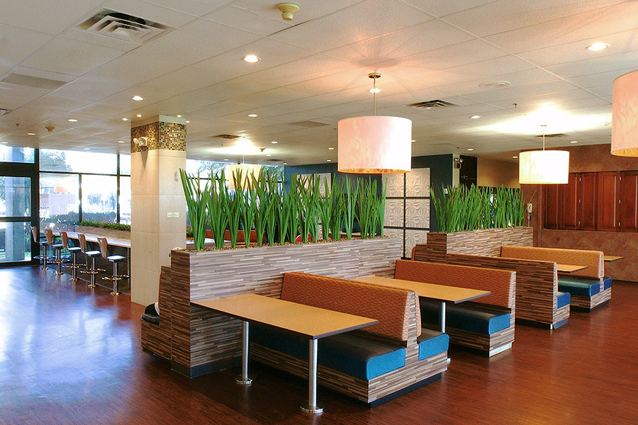 Dining booths with benches inside a commercial building