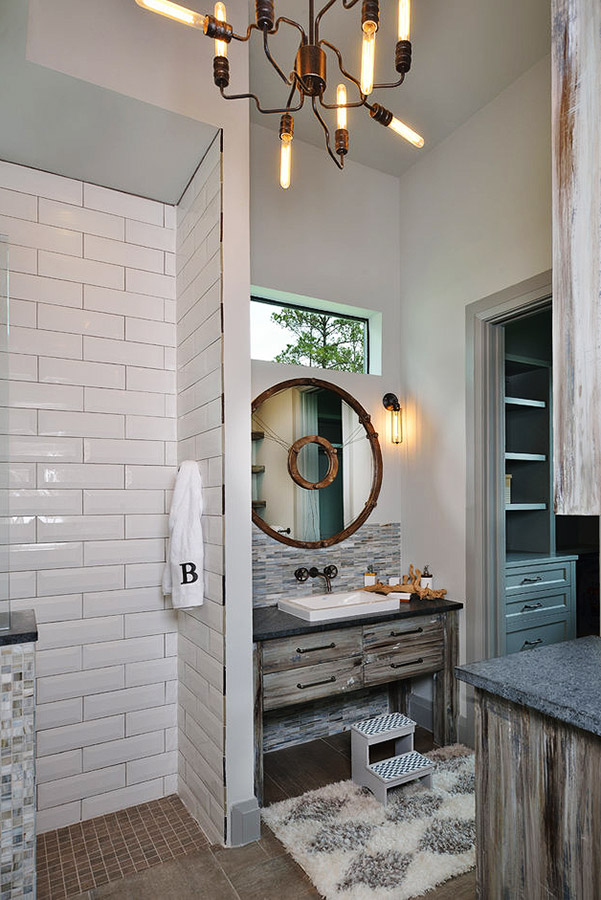 Bathroom vanity with a subway tiled standing shower