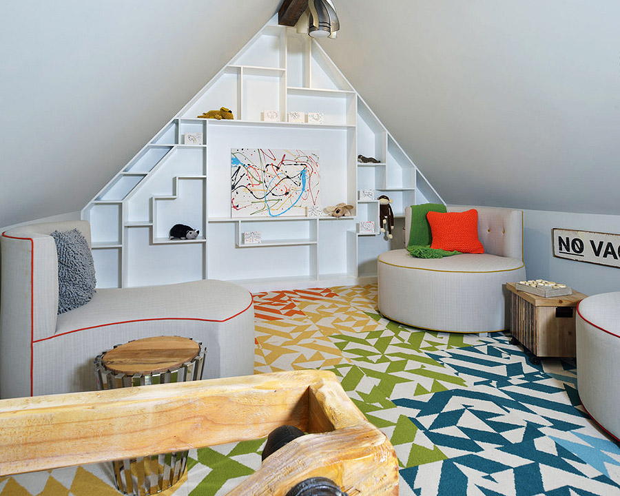 Playful triangular bookcase in a child's bedroom