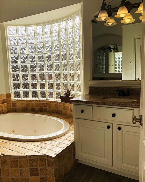 bathroom with glass blocks window before it was renovated