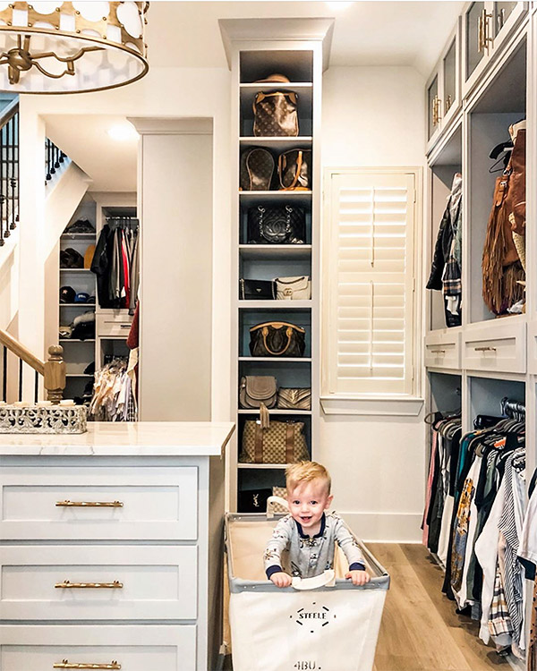 Multi shelf and sectioned closet for ample clothes, shoes and bags after renovation