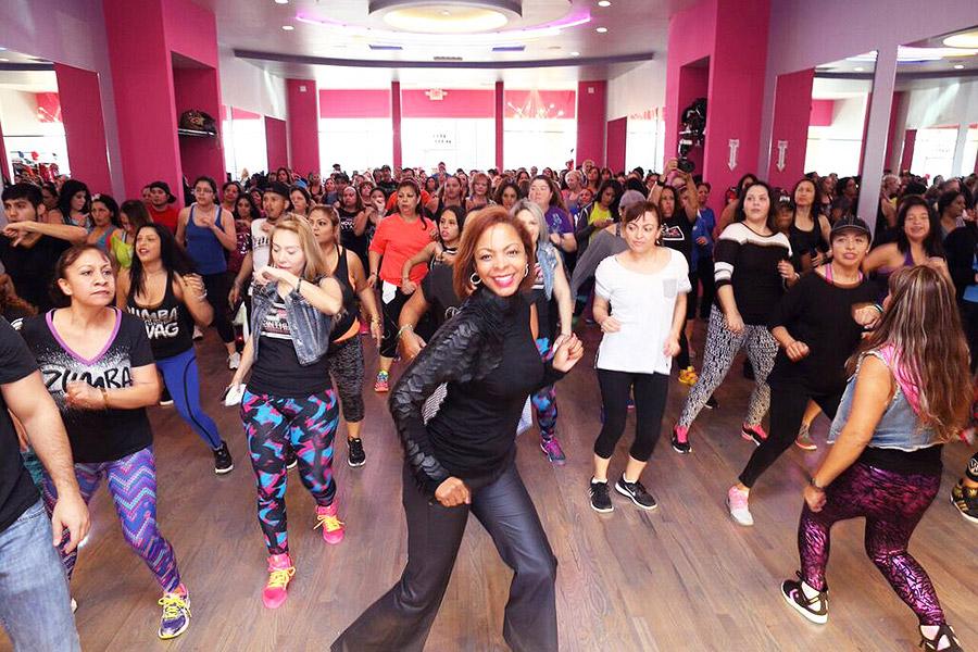 Shundra Harris at the Cinthia's Fitness Studio in a zumba class
