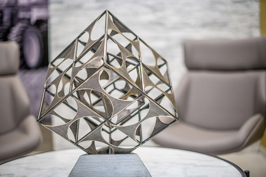 Detail of a decoration piece on a coffee table in an office lobby