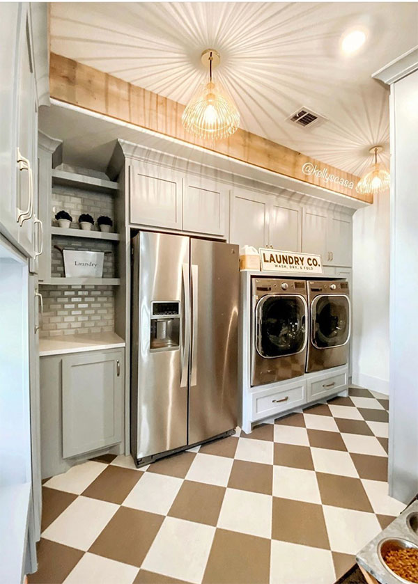 laundry room with refrigerators and pet food area