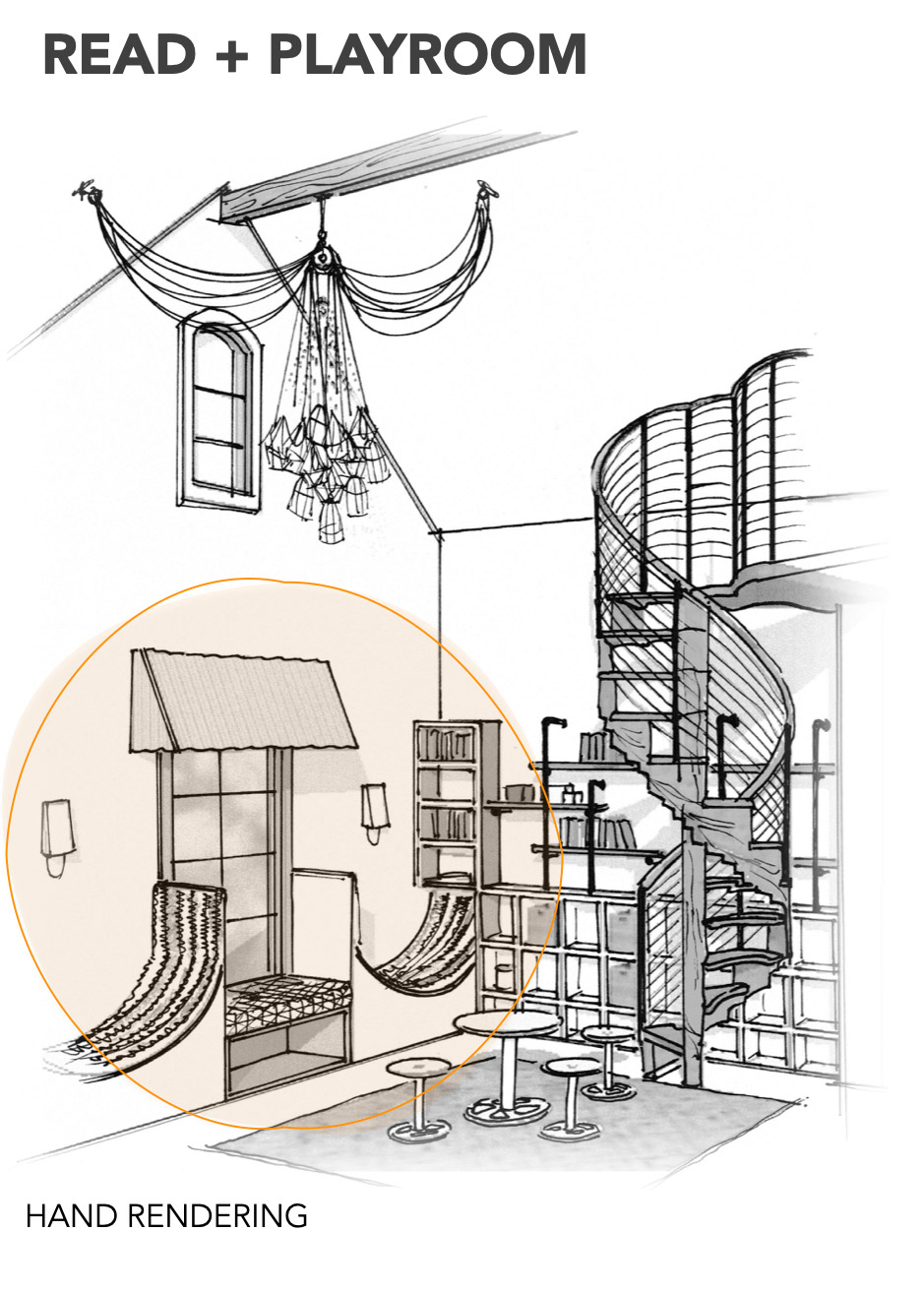 technical drawing of a child's playroom by Shundra Harris Interiors