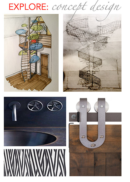 mood board with various drawings for a child's bedroom interior and materials samples