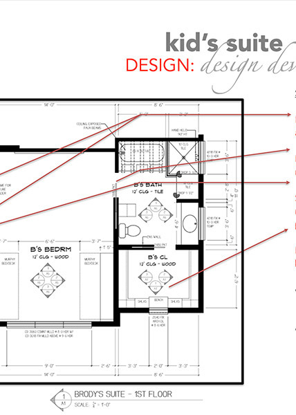 drawing of an interior space layout showing areas of a big suite by Shundra Harris Interiors